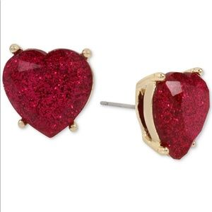 Betsey Johnson Glitter Red Heart Earrings